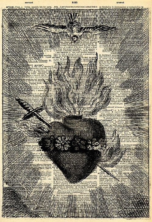 Vintage Book Art Print - Antique Sacred Heart Art