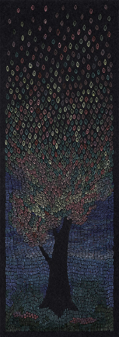 When trees dream. white ink and coloured markers on black paper. Romanian painter Rosu-Gutman Daniel