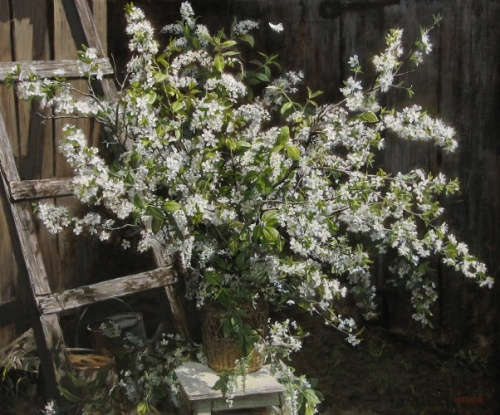 White bouquet of spring. Painting by Yuri Pantsyrev