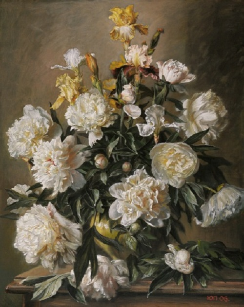 White peonies and irises. 2006. Painting by Yuri Pantsyrev