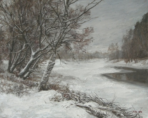 Winter. Cloudy Day 2009. Painting by Yuri Pantsyrev