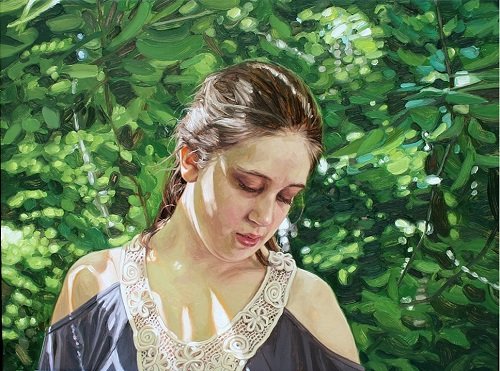 Wooded Area. 2012. oil on canvas. Hyperrealistic painting by Laura Sanders