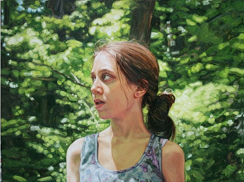 Wooded Area. 2013. oil on canvas. Hyperrealistic painting by American artist Laura Sanders