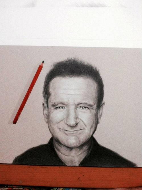 Robin Williams pencil drawings by ken kimura