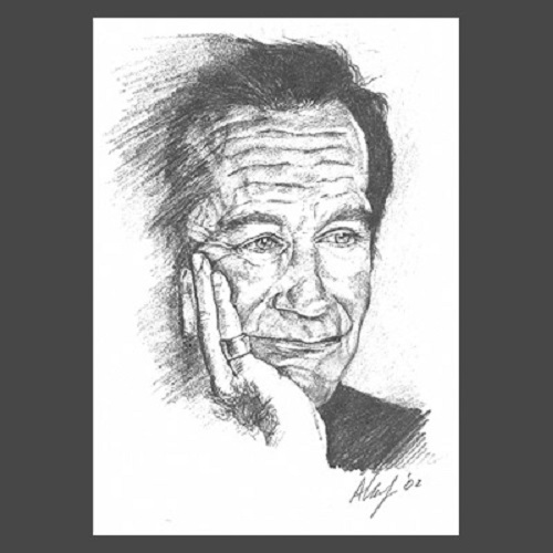 Robin Williams in pencil drawing