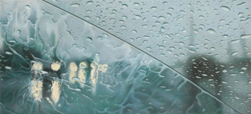 159th st, 4pm. Hyperrealistic 'Rainscapes' painting by American artist Elizabeth Patterson