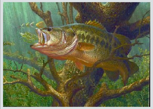 2005 First-of-State Texas Freshwater Stamp. Underwater world and fish in painting by American artist and fisherman Mark A. Susinno