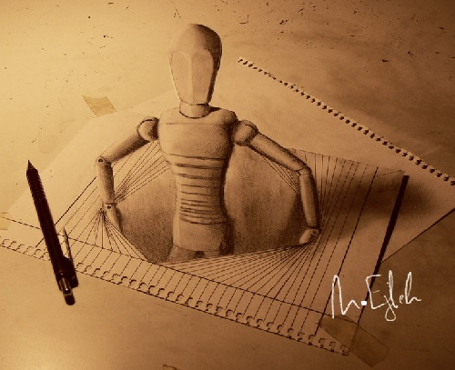 3D pencil drawing by Muhammad Ejleh