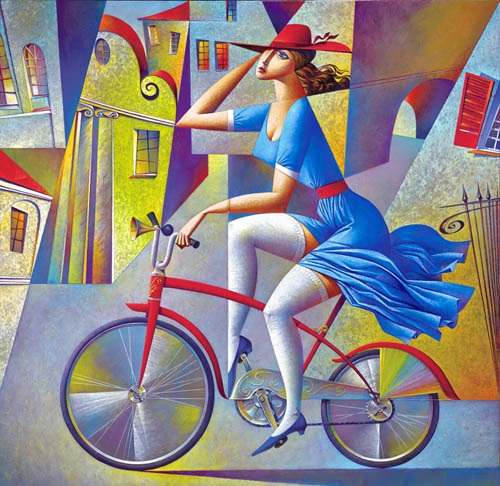 A Bicycle Drive. Geometrical painting by Russian artist Georgy Kurasov