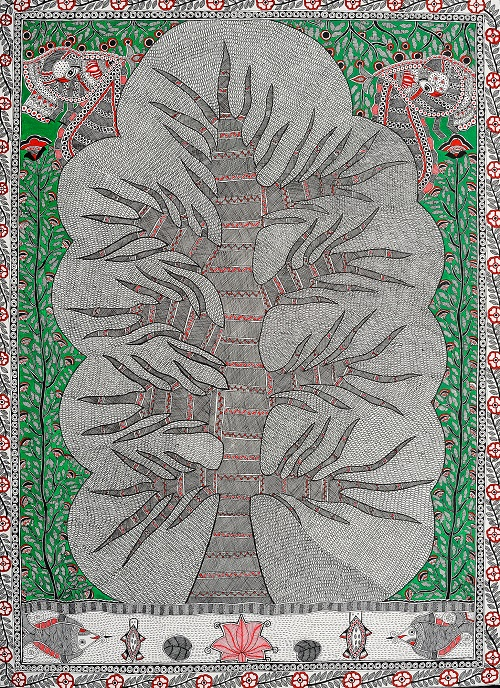 A Decorated Tree. Folk painting on hand-made paper. Artist Vibhuti, Village of Madhubani (Bihar)