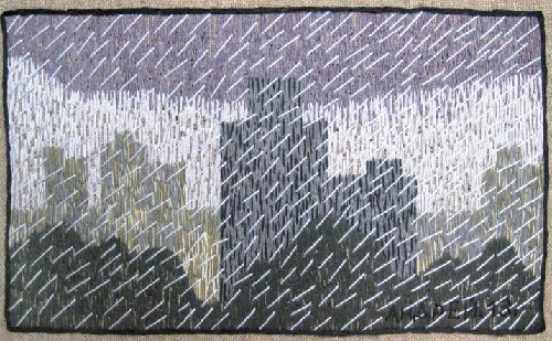 A gray day. acrylic yarn, Embroidery by Russian artist Andrey Kortovich