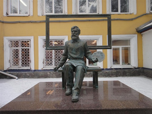 A monument to the artist Dmitry Karatanovin Abakan, Russia