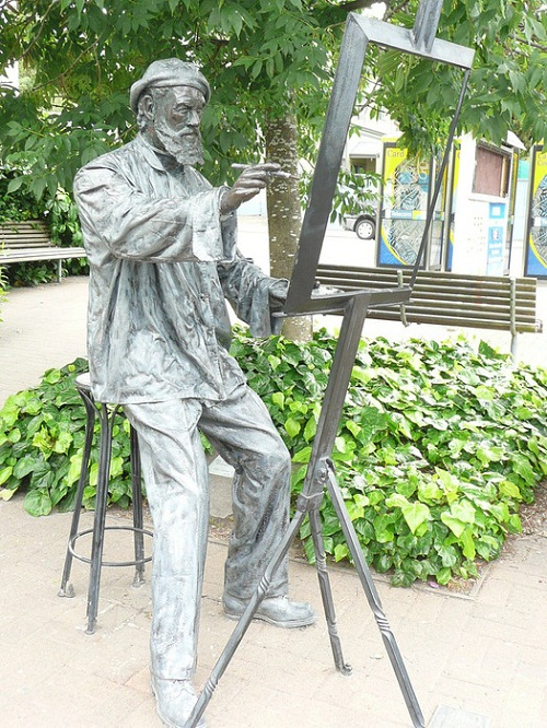 A monument to the artist in Akaroa, New Zealand