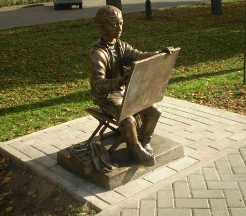 A monument to the young artist in Velikiy Novgorod, Russia