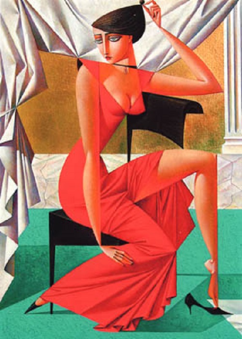 An Intermission. Geometrical painting by Russian artist Georgy Kurasov