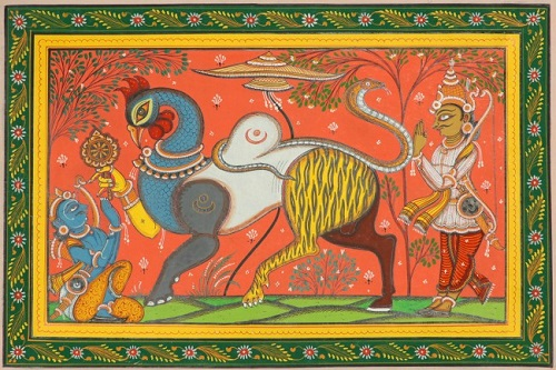 Arjuna Saluting Navagunjara - a Composite Figure (Krishna) During His Stay in Khandava Forest. Water Color on Patti. Artist Rabi Behera