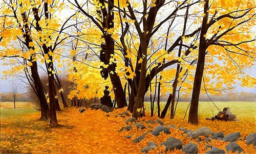 Autumn in painting by Russian artist Alexander Volkov
