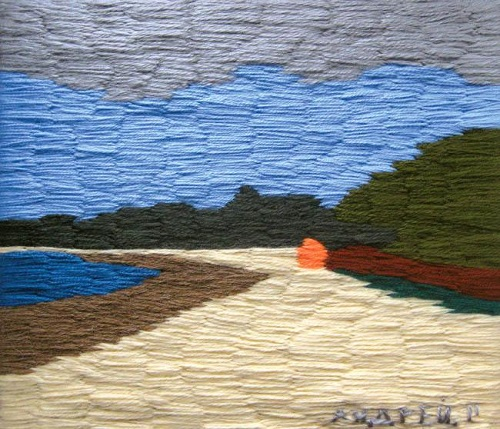 Baltic coast. Acrylic yarn, 2012. Embroidery by Russian artist Andrey Kortovich