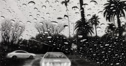 Bedford Drive II, Beverly Hills. Hyperrealistic pencil drawings by American artist Elizabeth Patterson