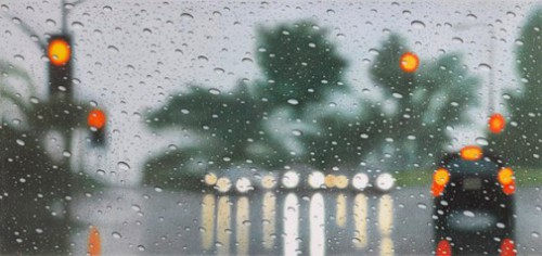 Beverly Glen Boulevard IV, Los-Angeles. Hyperrealistic 'Rainscapes' painting by American artist Elizabeth Patterson