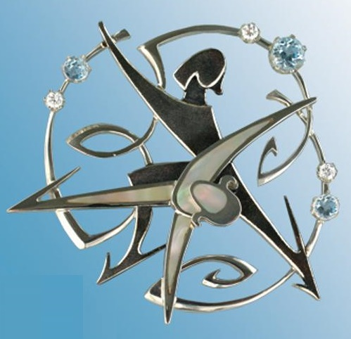 Brooch 'Figure skating'. Silver, topaz, pearl. Artwork by Russian jeweler Boris Kolesnikov