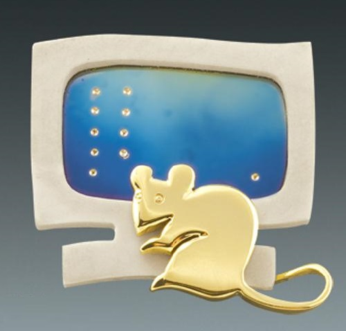 Brooch 'Mouse'. Plastic, titanium, gold. Artwork by Russian jeweler Boris Kolesnikov