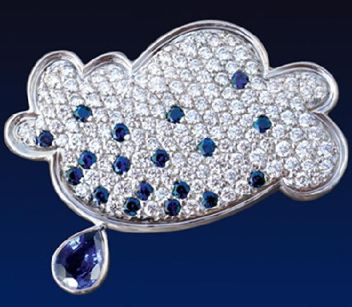 Brooch 'cloud'. 750 gold, diamonds, sapphires 2010. Artwork by Russian jeweler Boris Kolesnikov