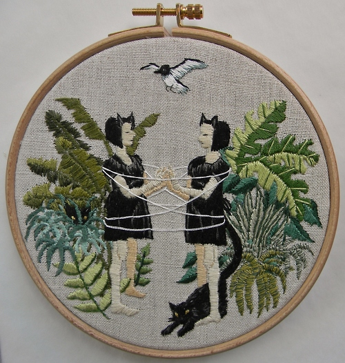 Cat's Cradle. Stitched painting by Michelle Kingdom