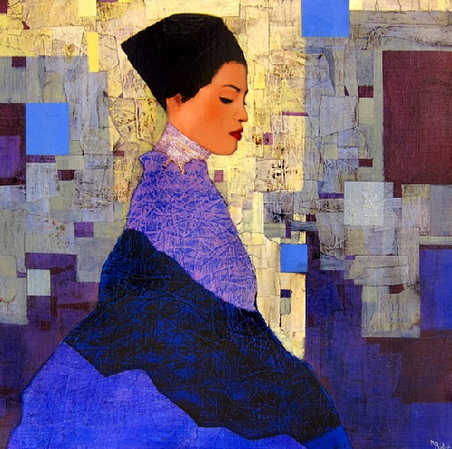 Caucasse. Female portrait, oil painting by French artist Richard Burlet