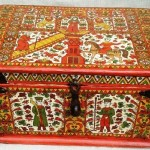 Chest vintage 19c, forged iron. hand painted in Severodvinsk style