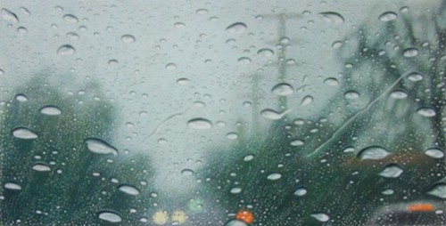 Colfax ave, 1pm. Hyperrealistic 'Rainscapes' painting by American artist Elizabeth Patterson