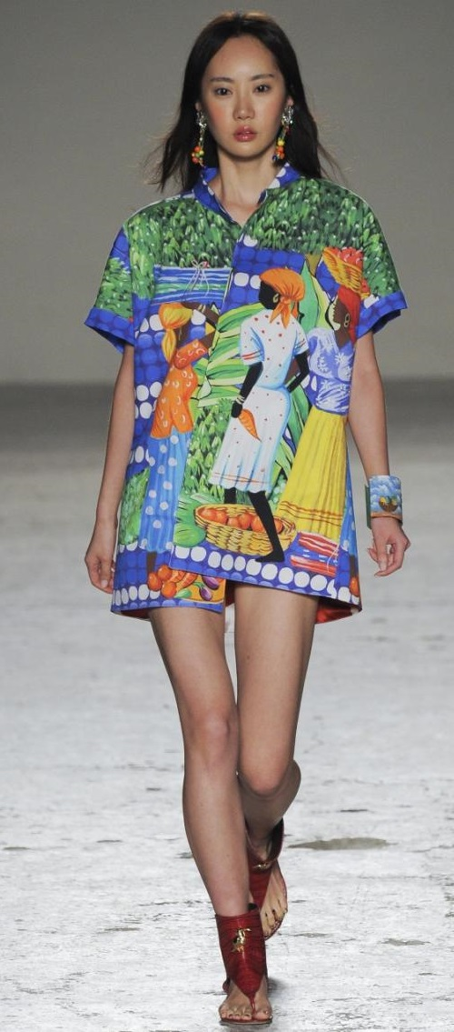 Collection of prints inspired by the culture of African continent in summer 2015 fashion by Italian designer Stella Jean