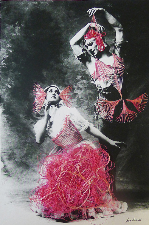 Dance. Nijisky and Tamara Karsavina. Embroidered vintage black & white photographs by Chilean artist Jose Romussi