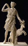 Beautiful virgin goddess Artemis in art