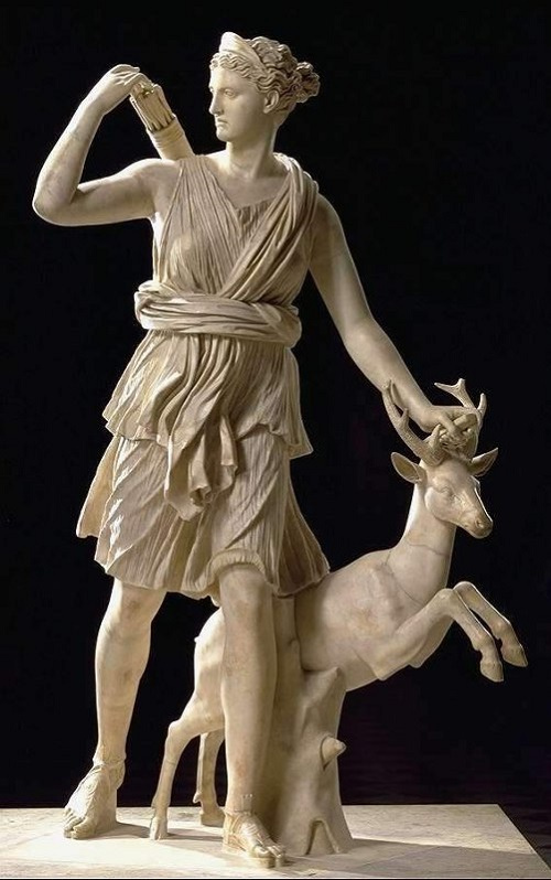 Artemis with a hind, or Diana of Versailles, a Roman marble copy of a Greek original by Leochares, Greek sculptor from Athens