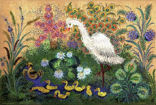Ducklings. Petrikovsky painting