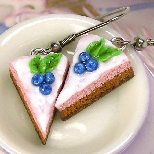 Earrings - Slices of chocolate cake with whipped cream and blueberries