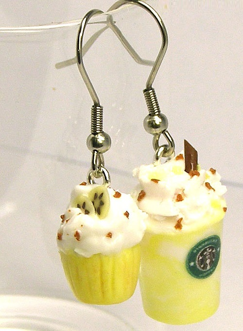 Earrings for fans of Starbucks - vanilla shake with whipped cream and chocolate and lemon cake with banana