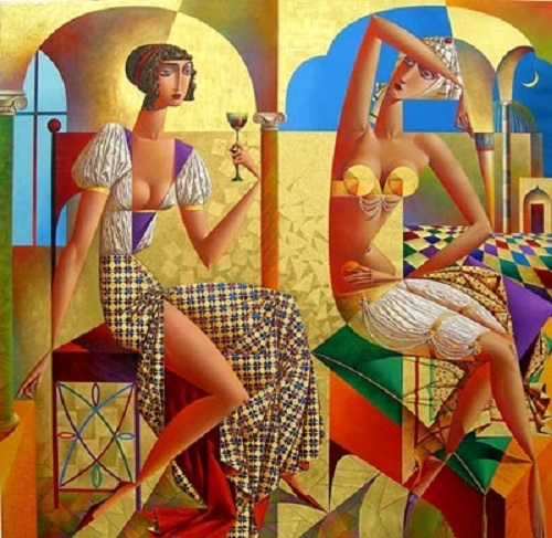 East and West. Geometrical painting by Russian artist Georgy Kurasov