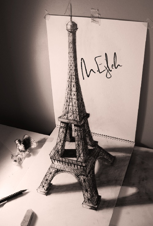 Eiffel tower. Three dimensional pencil drawing by Syrian artist Muhammad Ejleh