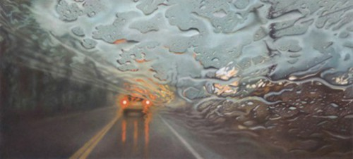 Eleventh street, 3pm. Hyperrealistic 'Rainscapes' painting by American artist Elizabeth Patterson