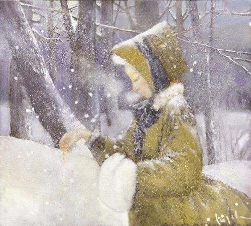Feeding birds in winter. Painting by Russian artist Natalia Syuzeva