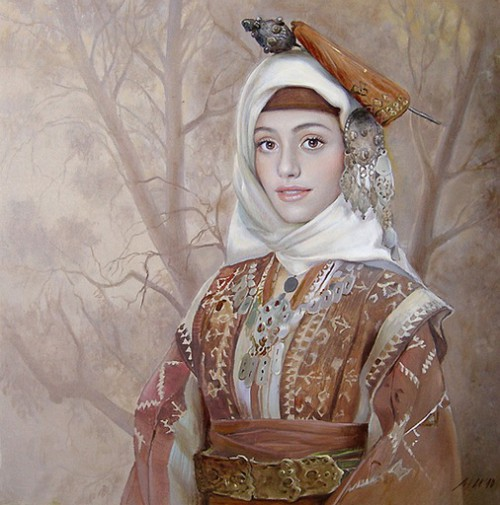 Female portrait by Bulgarian painter Maria Ilieva