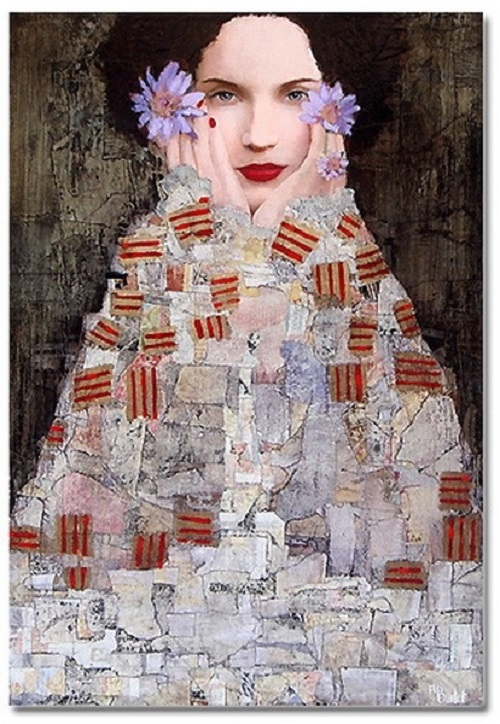 Female portrait, oil painting by French artist Richard Burlet
