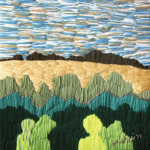 Field behind the wood. Acrylic yarn, 2012. Embroidery by Russian artist Andrey Kortovich