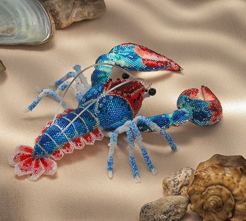 Finalist of Bead Dreams 2014, a handsome Lobster. Realistic beaded sculpture by Belarusian artist Zhanna Vasilyeva
