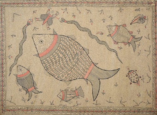 Fishes, Tortoises, Snakes and Conch in Ocean. Folk painting on hand-made paper treated with cow dung. Artist Vineeta Karn, Village of Madhubani (Bihar)