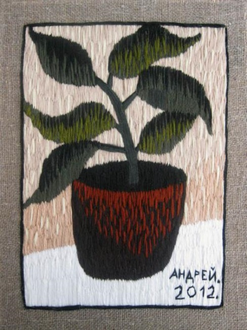 Flower in a pot. Acrylic yarn, 2012. Embroidery by Russian artist Andrey Kortovich
