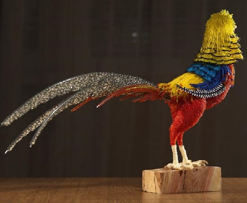 Golden Pheasant. Realistic beaded sculpture by Belarusian artist Zhanna Vasilyeva