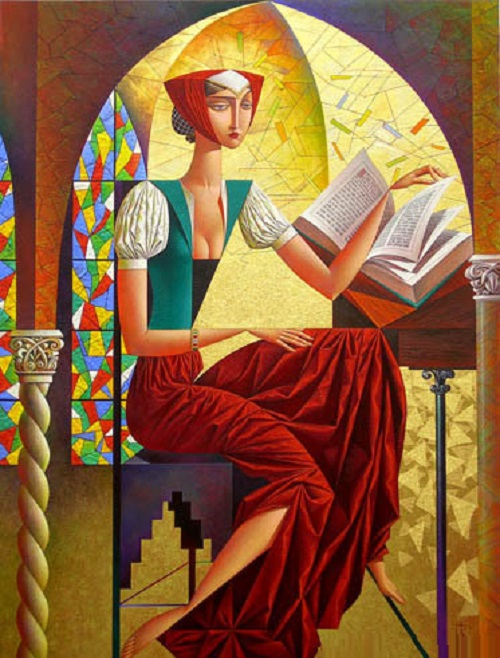 Gothic Novel. Geometrical painting by Russian artist Georgy Kurasov